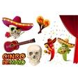 Set Cinco de Mayo Mexican skull in sombrero vector image vector image