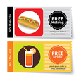 set of hotdog and juice coupon discount template vector image vector image