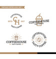 set of vintage coffee shop logo badge and element vector image vector image
