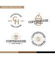 set vintage coffee shop logo badge and element vector image