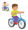 small boy ride bikes vector image vector image