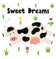 sweet dreams card with a cute sleeping cow vector image