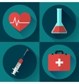 Trendy medical icons with shadow Flat design vector image vector image