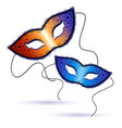 two Venetian carnival masks on a white background vector image vector image