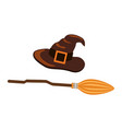 witch hat and scythe icon vector image