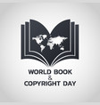 world book and copyright day logo icon design vector image