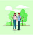 young couple on the park characters vector image