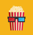 3d glasses and big popcorn flat vector image