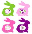 Abstract colorful bunnies with eggs set vector image vector image