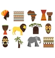 africa safari emblems and flat icons vector image vector image