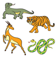 animals set antilopa tiger varan boa vector image