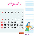 april 2016 kids vector image vector image
