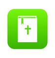 bible icon digital green vector image vector image