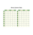 binary system table vector image