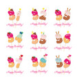 birthday card set festive sweet numbers from 31 vector image vector image
