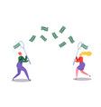 business characters catching flying money with net vector image vector image