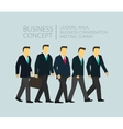 Business group team walking Five people go to vector image