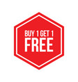 buy one get one free sign numbers hexagon vector image vector image