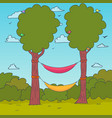 cartoon nature background hammocks on a tree vector image vector image