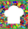 chef cap sign white icon on colorful vector image