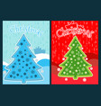 christmas poster with a christmas tree vector image vector image