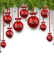 Christmas sale balls with fir branches vector image vector image