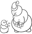 christmas snowmen coloring page vector image vector image