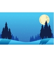 Christmas spruce and moon landscape silhouettes vector image vector image