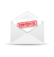 confidential white envelope vector image vector image