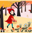 cute red hood girl in the forest vector image