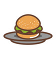 dish with delicious burger isolated icon vector image