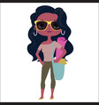 fashionable girl with yoga carpet vector image vector image