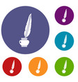 feather quill pen standing in bottle of ink icons vector image vector image