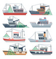 fishing ocean boats commercial fisherman ships vector image vector image