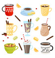 flat set of mugs with hot drinks coffee vector image