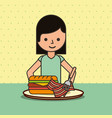 girl cartoon eating sandwich bacon on dish vector image