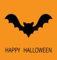 happy halloween bat flying black silhouette icon vector image