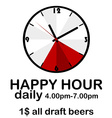Happy hour concept with clock vector image vector image
