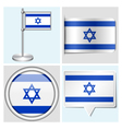 Israel flag - sticker button label flagstaff vector image vector image