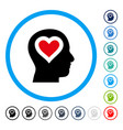 love in head rounded icon vector image vector image