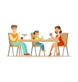 Mom Dad And Son Having Breakfast Happy Family vector image vector image