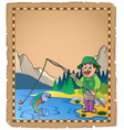 parchment with fisherman 1 vector image
