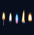 realistic burning flames set vector image vector image