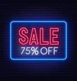 sale 75 percent off neon sign on brick wall vector image vector image