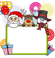 Santa Claus reindeer snowman with poster vector image vector image