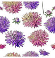 seamless pattern with asters endless texture fo vector image vector image