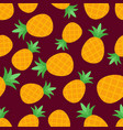 seamless pineapple pattern on burgundy background vector image