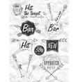 set emblem of bar boom arrow crumpled paper