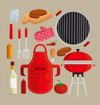 set meat with thighs grill to sauces nutrition vector image