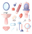 set of different accessories in the bathroom that vector image